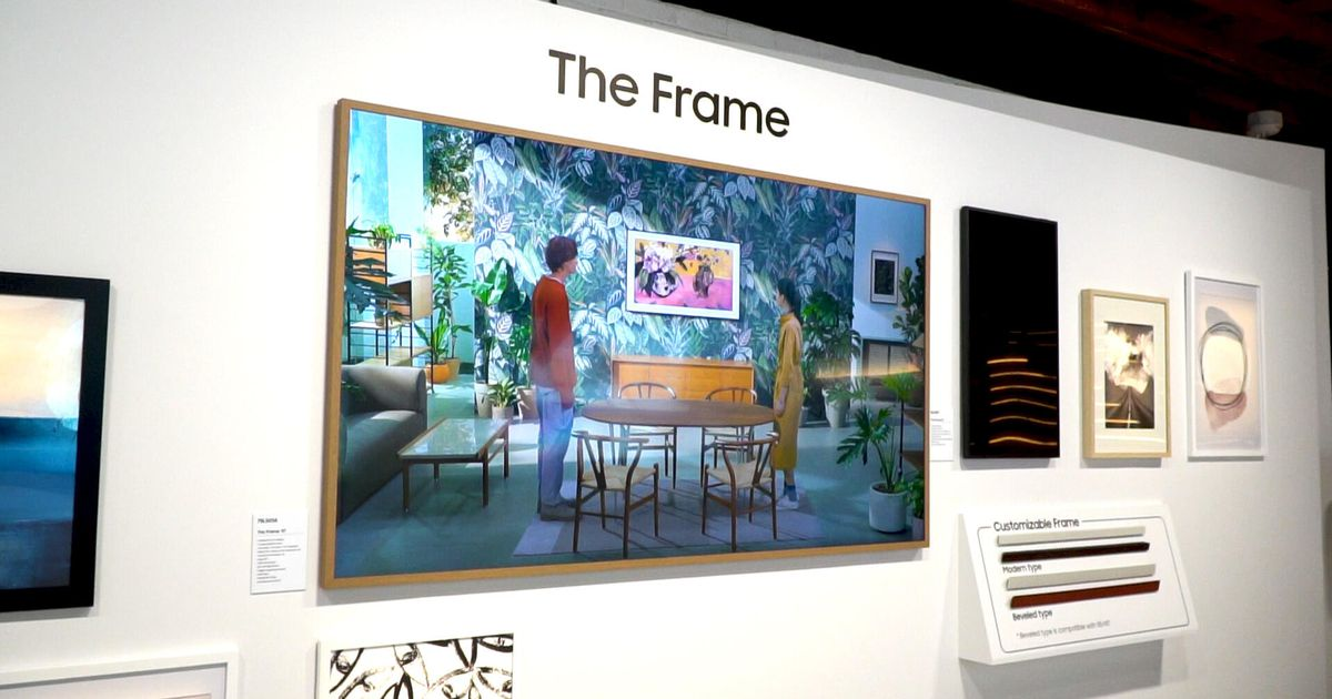 Samsung The Frame has a slim design to mimic a wall painting